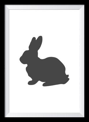 Illustration - schwarz-weiß Hase
