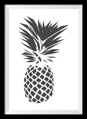 Illustration - schwarz-weiß Ananas