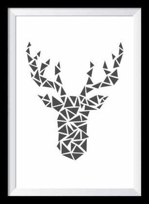 Illustration - schwarz-weiß Hirsch