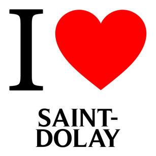 j'aime saint dolay écrit avec un coeur rouge