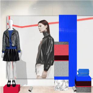 scénographie vitrine mode couleurs primaires