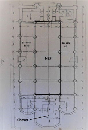 Plan de l'église gothique de Plaisance du Gers