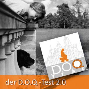Das offizielle Logo des D.O.Q.-Test verweist darauf, dass Dr. Birge Herkt berechtigt ist, die Prüfung (Sachkundenachweis D.O.Q. Test 2.0) in Theorie und Praxis durchzuführen.