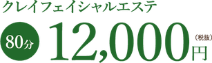 クレイフェイシャルエステ 80分12000円(税抜)