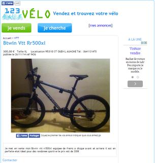 page d'accueil 123 vélo