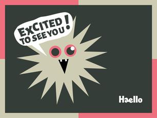 Grafik zur Begrüßung mit lachendem Gesicht, Text dazu: Excited to see you! Absender: Alexander Kurzhöfer Haello Kommunikationsdesign, Kommunikationsdesigner für Konzeption, Corporate Design, Corporate Identity, Grafikdesign, Infografik, Text, Film in Kiel
