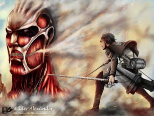 Ataque de Titanes (Ilustración para un concurso de artistas en ilustración)