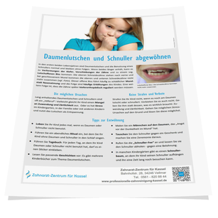 Merkblatt von Ihrem Zahnarzt: Wie Sie Ihrem Kind das Daumenlutschen und Schnullern sanft abgewöhnen. (© Doc S)