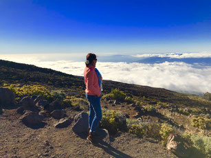 """Looking down to a cloudy North Shore of Maui from Haleakala"""