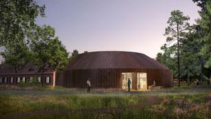 Entwurf zum neuen Museum FLUGT in Oksbøl. Foto: Bjarke Ingels Group/PR