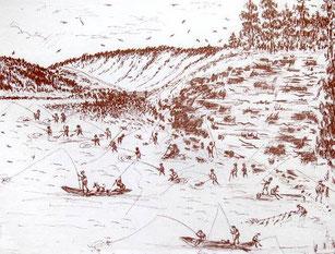 Рыбалка на Качугском подкамне. Рисунок из книги А.Г.Белоусова «Качуг. Страницы истории» (Иркутск, 2006 г)