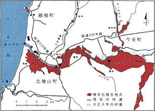 図2 檜山地域の液状化分布図(陶野、1998)