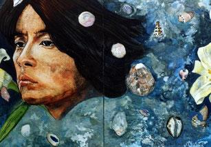 Dos (二人 dos). Pigmento mineral, 22.8x15.8 cm, 2002. Colección privada.