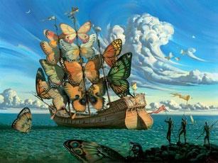 """""""Departure of the Winged Ship"""" Vladimir Kush. Peintre russe métaphoriste (1965), influencé par Dali et Magritte. Le papillon, symbole de l'âme, du souffle vital, de la métamorphose, de la Renaissance."""