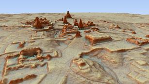 Imagen de la ciudad de Tikal 3D del sureste. PACUNAM/Canuto & Auld-Thomas