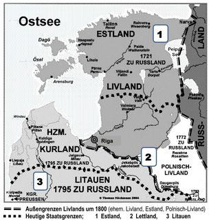 Livland um 1800 und heute. Quelle Basiskarte: Thomas Höckmann 2004