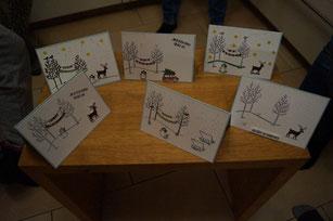 """Karten von Kids mit """"Weiße Weihnacht""""."""
