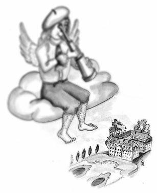Der Weihnachtsengel Alexis schaut mit einem großen Fernrohr auf Schloss Augustusburg in Brühl.