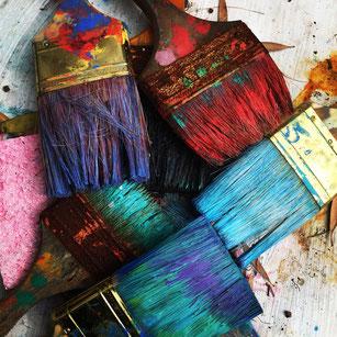 bunte Pinsel, bunt, Farbe, Pinsel, farbige Pinsel, streichen, farbig