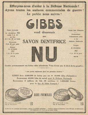 Publicité de 1917, l'aluminium se fait rare