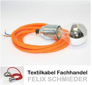 Textilkabel Leuchtenpendel orange mit E27 Kopfspiegel Gluehlampe silber