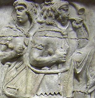 Cornu-Bläser auf der Trajansäule in Rom, 1.Jh. n. Chr.