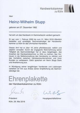 Ehrenplakette der Handwerkskammer zu Köln