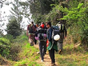die Kletterschule des C.A.I. auf dem Weg zu einer Wand