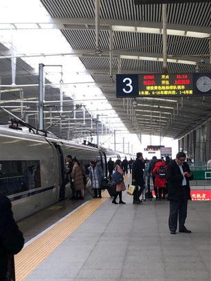 1月中旬 中国上海近郊での新幹線乗車時です。