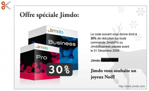 code de réduction e-boutique Jimdo