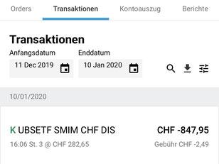 Darstellung aus der App von Degiro: Transaktionsübersicht.