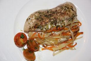 Papillote de pollo con verduras