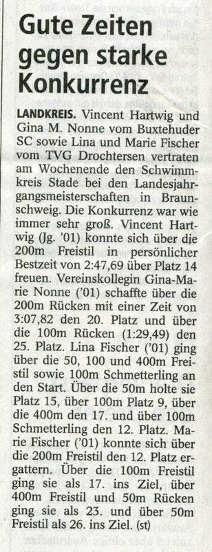 Gute Zeiten gegen starke Konkurrenz. Buxtehuder Tageblatt vom 25.04.2013