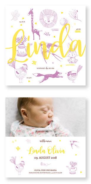 Geburtskarte Geburtsanzeige Schweiz kartendings.ch Babykarte Geburt