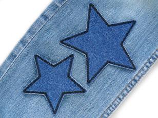 Bild: Stern Bügelbilder Jeansflicken dunkelblau und schwarz, Flicken zum aufbügeln