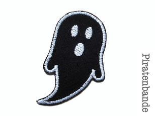 Bild: schwarzes Gespenst Geist Bügelbild Applikation Aufnäher Aufbügler