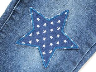 Bild: Stern Jeansflicken Sternchen, Aufnäher zum aufbügeln für Kinder dunkelblau