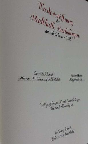 Dr. Nils Schmid Minister für Finanzen und Wirtschaft, Wolfgang Grupp Trigema, Harry Ebert, Bürgermeister, Wolfgang Schroft, Förderverein Sporthalle
