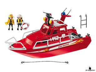 Im Paket Playmobil 3128 ist ein Feuerwehrboot mit Druckpumpe enthalten.