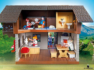 Die Besonderheit im Playmobil Paket 5422 ist die offene Almhütte zum bespielen.