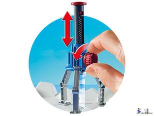 Besonderheiten im Playmobil Paket 9056 ist eine funktionierende Bohrer, er wird über den seitlichen Drehknopf bedient.