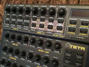 Xtetr BCR - Behringer BCR2000 Controller Overlay + MIDI Template, mxpand - für DSI Tetra (Dave Smith Instruments, Sequential Circuits), analog Desktop-Synthesizer, hochwertige Bedien-Schablone/Folie/Skin, intuitiver Hardware Editor