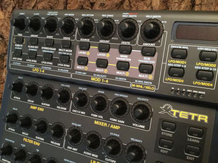 Xtetr BCR - Behringer BCR2000 Controller Overlay + MIDI template, mxpand - for DSI Tetra (Dave Smith Instruments, Sequential Circuits), analog desktop synthesizer, high-quality operating template/front foil/film/skin, intuitive hardware editor