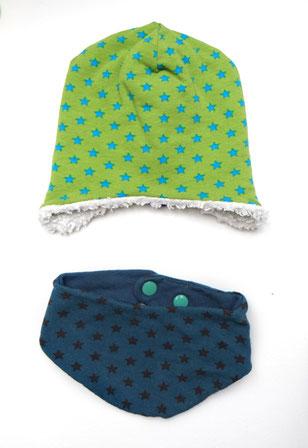 Lybstes. Geburtsgeschenke für das Baby, Beanie-Mütze, Sterne - Türkis - Grün