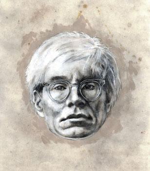 Andrew Warhola - graphite, acrylique et pigment sur papier-30x40 cm