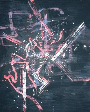 ohne Titel: 90 x 100 cm. Wachsreserviertechnik, Acrylmalerei. 2012