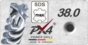 PX4 SDSmax 38mm power drill / hamerboor / klopboor / betonboor / hammer drill bit