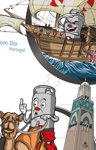 Vitogaz Banner: Vitogaz Fertigstellung Zeichnung mit Tusche und Farbe in Photoshop  Illustration Lockedesign, Burgdorf bei Bern (CH)