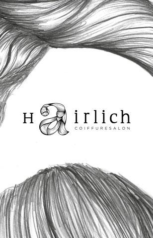 hairlich Coiffuresalon: Entwicklung Logo by Lockedesign, Burgdorf: Geschäftsauftritt von hairlich-coiffuresalon. Gestaltung von Post- und Visitenkarte mit Haar-Illustartionen auf der Rückseite