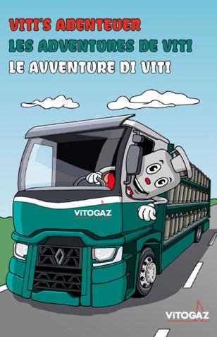 Vitogaz Kindermalbuch Titelseite: Idee, Typografie und Zeichnung von Lockedesign, Bern